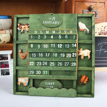Creative Wooden Hand Crafts Calendar Home Decor [6282561286]