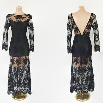 Vintage 90s Sheer Dress | 1990s Embroidered Dress | Black Lace Maxi Dress | Open Back Dress | Long Sleeve Dress | Illusion Dress | Gothic