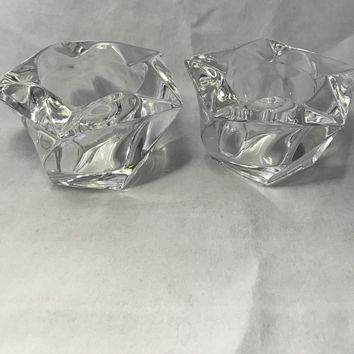 #0096 Vintage Party Light heavy crystal votive candle holders star shape shaped,