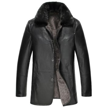 2017 Winter Brand New Genuine Leather Thick Warm Men's Suede cowkin Leather Coat Winter Leather Jacket 6XL 7XL 8XL9xl