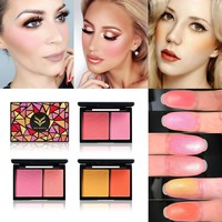 HUAMIANLI Peach Rose Natural Baked Face Pressed Blush Rouge Makeup Cheek Blusher Palettes Mineral Blusher Palette Cream Blush
