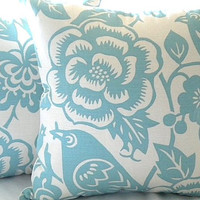 Throw pillow cover Robin egg blue floral 18 x 18