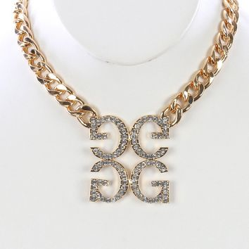 Clear Pave Crystal Stone Letter G Bib Necklace