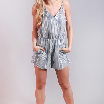out of town striped romper
