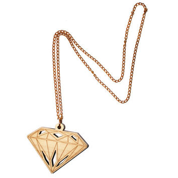 Big Wooden Diamond necklace
