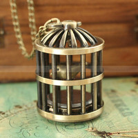 Retro bird cage pocket watch necklace with cool bird inside by mosnos