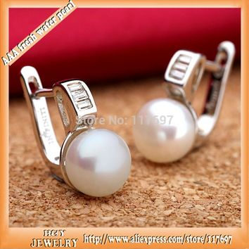 Sinya freshwater pearl earring 925 sterling silver Euro English lock fine Jewelry 2016 new and hot hoop earrings for women