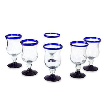 NOVICA Artisan Crafted Clear Blue Rim Hand Blown Recycled Glass Wine Glasses, 7 oz, 'Spring' (set of 6)