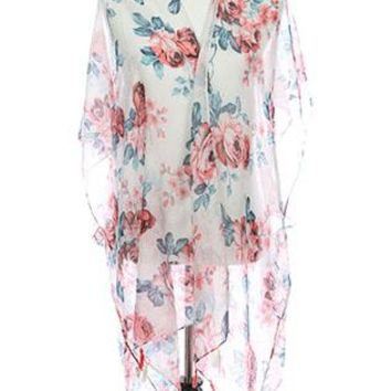 Poncho Floral Print Sheer Cover Up Tassel