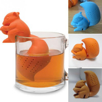 2015 High Quality Cute Squirrel Shape Tea Infuser Loose Leaf Strainer Bag Mug Filter Friends Applied