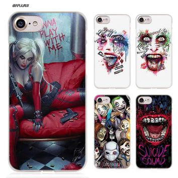 BiNFUL New Suicide Squad Joker Harley Quinn Hard Clear Case Cover Coque for iPhone X 6 6s 7 8 Plus 5s SE 5 4s 4 5c