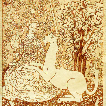 Lady of the Unicorn woodburned pyrography plaque created after famous medieval tapestry wall art home decor