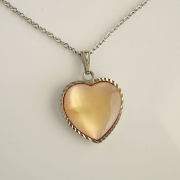 NS or SN Signed Peach Lucite Heart Pendant Necklace Vintage Jewelry