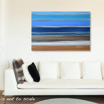 Large Original Rustic Beach Painting - Modern Contemporary Stripes Wall Art Decor - Turquoise, Blue, Brown - 36 x 24 Canvas - FREE SHIPPING