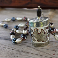Sale Vintage Perfume Bottle Pendant Silver Inlay Bird and Yin Yang with Vintage Indonesian Glass and Silver Beads on Leather