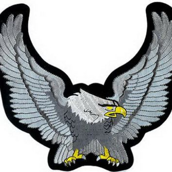 "Freedom Eagle Wings Up Biker Big Embroidered Back Patch 9.4""/23.6cm"