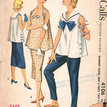 McCall's Retro 50s Sewing Pattern 4106 Maternity Blouse Sailor Collar A-line Tent Shirt Pants Skirt Bust 34