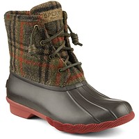 Women's Saltwater Duck Boot in Brown Plaid by Sperry - FINAL SALE