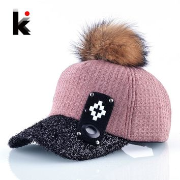 Trendy Winter Jacket Autumn And Winter Fur PomPom Baseball Caps Women Fashion Street Wear Fluffy Visor Hat Female Snapback Hip Hop Gorras Casquette AT_92_12