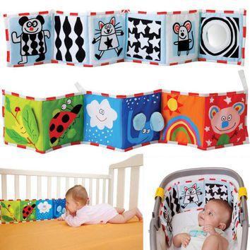 Baby Bed Bumper Animal Cloth Book Ruffle Soft Fun Black White Colorful Reversible Bed Bumper 3D Map Animal Print for Infant Bebe