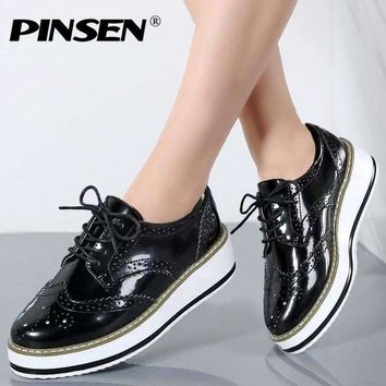 Pinsen Women Shoes Platform Brogue Flats Leather Shoes Lace Up Brand Female Footwear Oxfords Shoes For Women Creepers