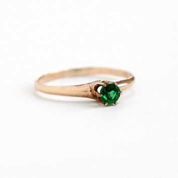 Sale - Antique 10k Rose Gold Filled Simulated Emerald Ring - Vintage Art Deco Size 8 1/2 Raised Solitaire Green Glass Stone Jewelry