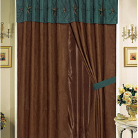 Texas Western Embroidery Star Suede Curtain With Lining Set - Rustic Brown Turquoise