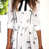 White Contrast Bowknot Collar Butterfly Print 3/4 Sleeve Dress