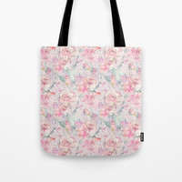 floral blush Tote Bag by sylviacookphotography