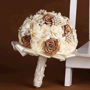 PEAPIX3 handmade Wedding bouquet lace flower silk pearl diamond Bride Hands Holding Rose Flower Wedding Bridal Bridesmaid Flower