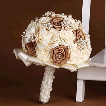 ICIKIX3 handmade Wedding bouquet lace flower silk pearl diamond Bride Hands Holding Rose Flower Wedding Bridal Bridesmaid Flower