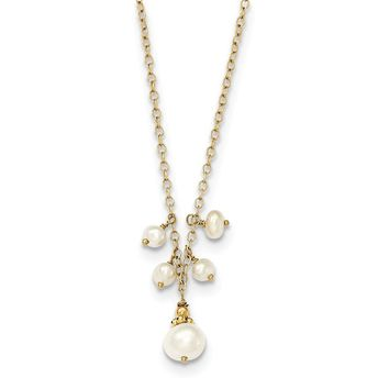 14K Yellow Gold F.W. Cultured Pearl and Cable Chain W/2 IN EXT Necklace