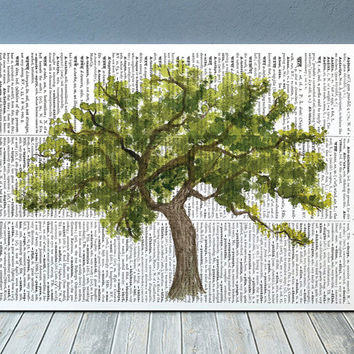 Watercolor poster Oak tree print Dictionary print Tree decor RTA2209
