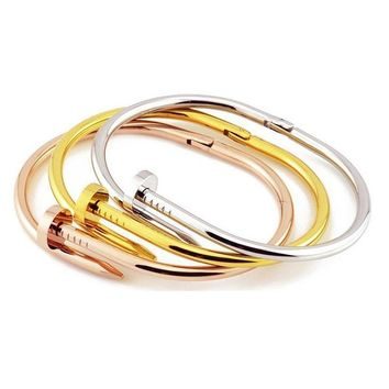 "OMFEE Stainless Steel Screw Wrap Nail Clou Bracelet Bangle Jewelry with Three Colors Silver Golden Rose Gold Length 6.69""inches"
