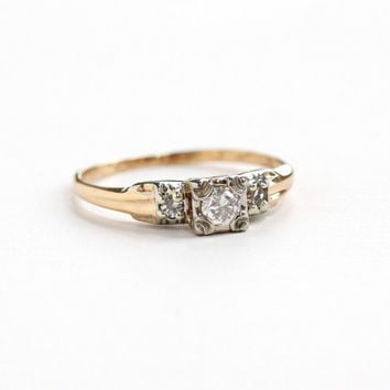 Vintage 14K Rosy Yellow & White Gold 1/10 Carat Diamond Ring - Size 7 1/2 Two Tone Diamond Shoulders 1940s Engagement Wedding Fine Jewelry