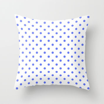 Cool, cute, modern, classic, elegant and trendy blue and white polka dots graphic pattern. Throw Pillow by PatternWorld