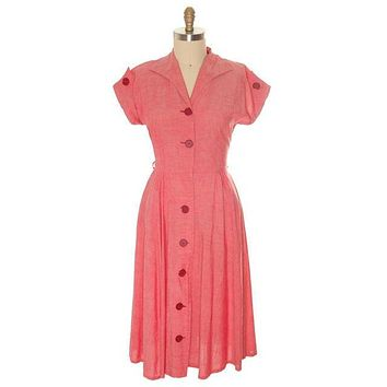 Vintage Womens House Dress Red Heather Cotton 1940s 38-30-Free