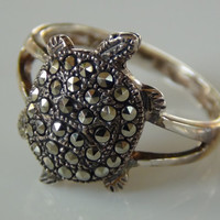 Turtle Ring 925 Sterling Silver Marcasite Cocktail Ring