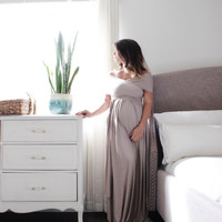 Maternity gown long infinity maternity dress- the wrap babydoll