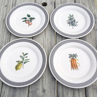 Pfaltzgraff Farmers Market dinner plates - designed by Pat Farrell - Peaches lemons blueberries carrots
