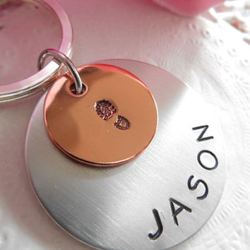 Keychain Copper And Aluminium Tags Boot Print And Name Personalised Customized