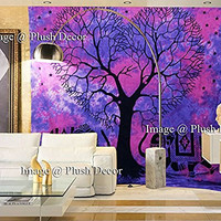 Plush Decor Exclusive - Glorious Attractive Purple Pink Heart Shaped Tree Tapestry Tie Dye Tapestries Indian Elephant Wall Hanging Beach Throw Wall Art