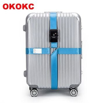 OKOKC 4.2m TSA 3 Digit Customs Password LockLuggage Belt Adjustable Travel Luggage Cross Strap for 18-34 inches Suitcase