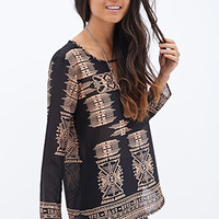 FOREVER 21 Tribal Print Top Black/Taupe
