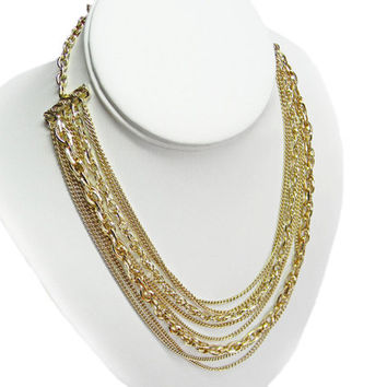 Multi Strand Chain Necklace Signed Western Germany Gold Tone Adjustable Length