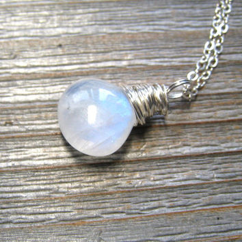 AAA Rainbow Moonstone Necklace, Heart Shape Stone, Sterling Silver, Wire Wrapped, Moonstone Jewelry