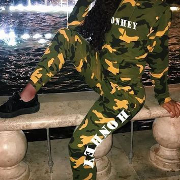 New Yellow Camouflage Pockets Two Piece Long Sleeve High Waisted Casual Long Jumpsuit