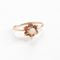 Antique 10k Rose Gold Opal Ring -  Edwardian Round Colorful Gem Size 3 1/2 Stick Pin Conversion Pinky Ring Flower Star Fine Jewelry