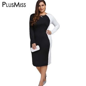 PlusMiss Plus Size 5XL Block Long Sleeve Sheath Modest Office Work Dress Ladies Elegant White Black Patchwork Midi Dress Women