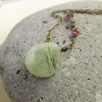 Prehnite Necklace, Gemstone Tourmaline, Antiqued Brass Rustic Jewelry